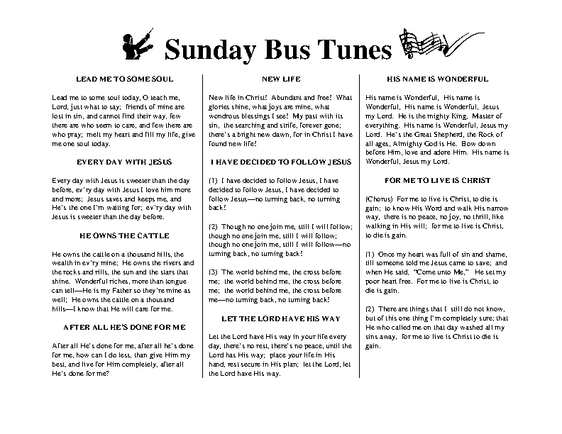 Sunday Bus Tunes 1